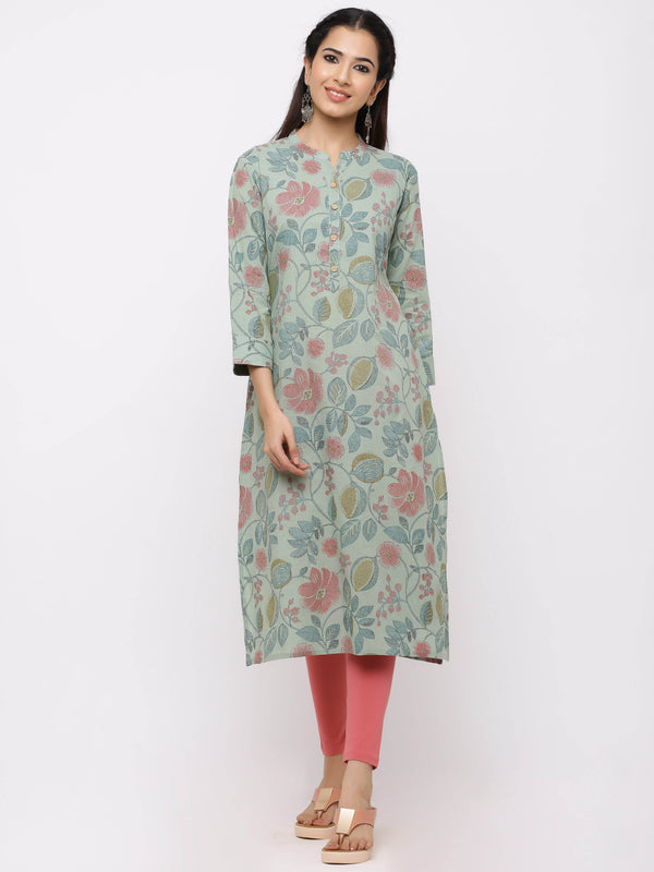 Straight Solid Printed Kurti with Pockets Aqua