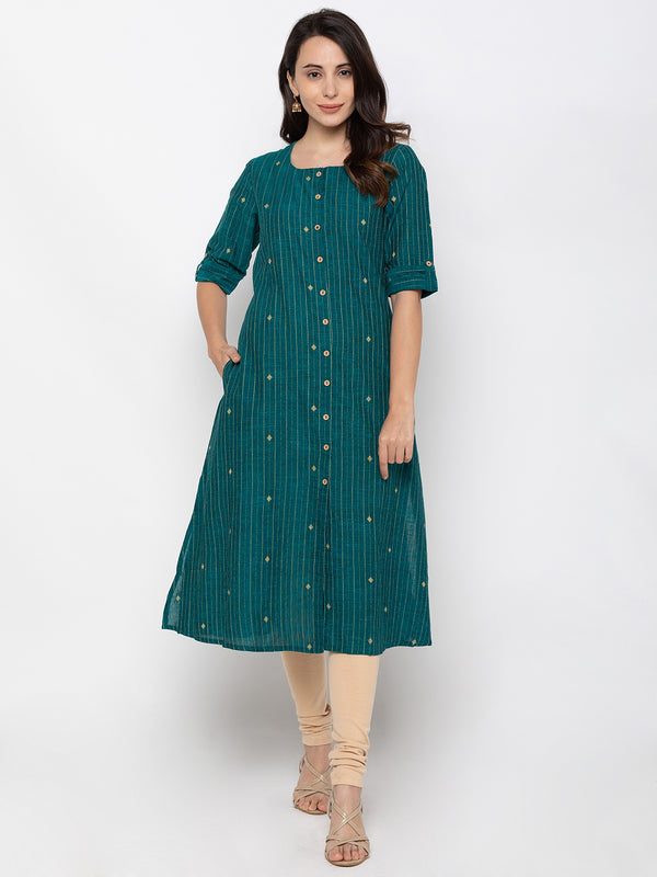 ZOLA Teal Pin-Striped Cotton Kurta with Pockets