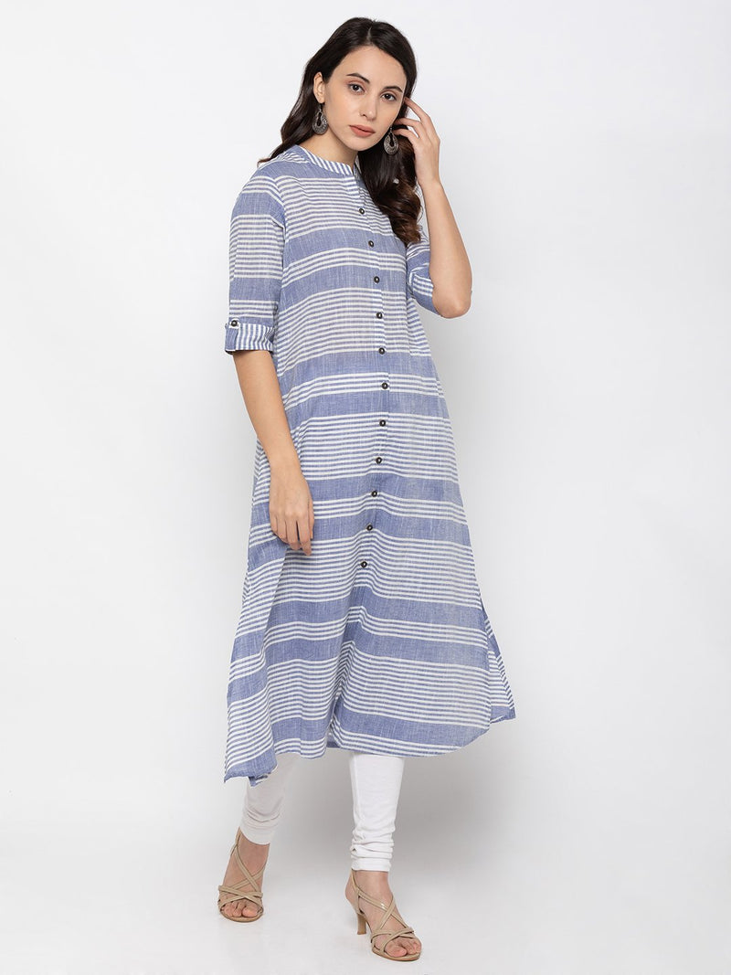 Blue Printed Cotton Kurti  Blue Buy