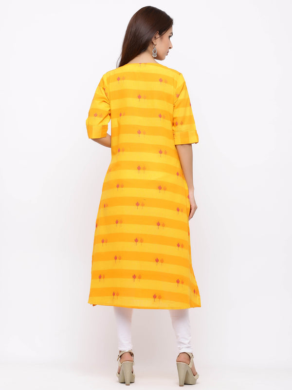 ZOLA Yellow Aline Printed Button Down Kurti With Pockets