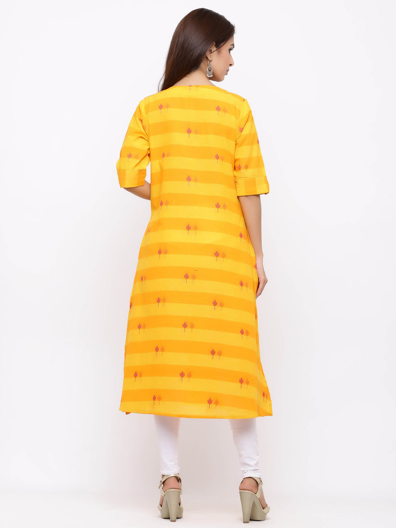 A-Line Printed Button - Down Kurti with Pockets Yellow