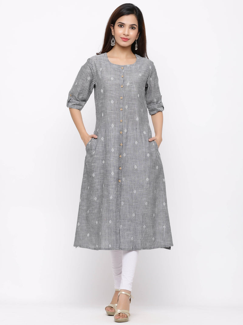 A-Line Striped Button - Down Kurti with Pockets Grey