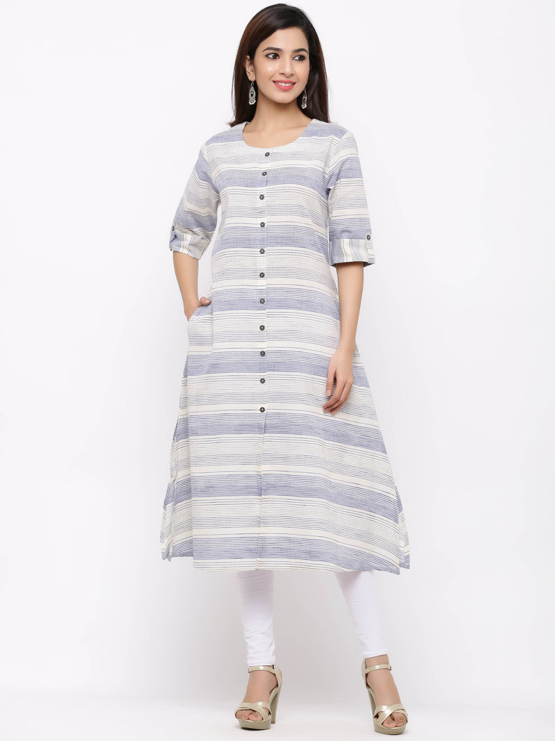 A-Line Striped Button - Down Kurti with Pockets Blue