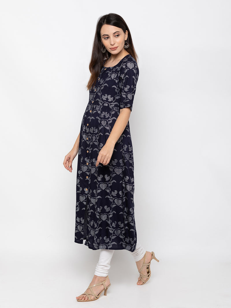 Trendy Navy Blue Modal Silk Round Neck Printed Kurti
