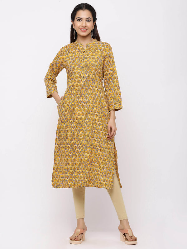 ZOLA Yellow Straight Solid Printed Kurta With Pockets
