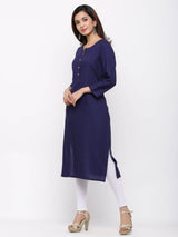 ZOLA Cotton Straight Solid Coloured Kurta with Pockets