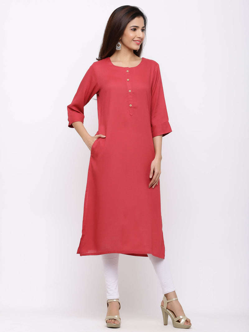 Straight Plain Coloured Kurti with Pockets Pink