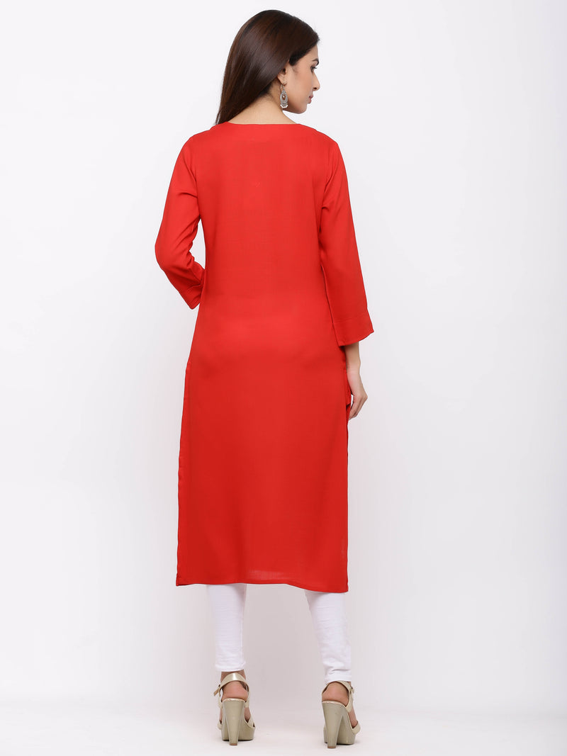 Straight Plain Coloured Kurti with Pockets Red