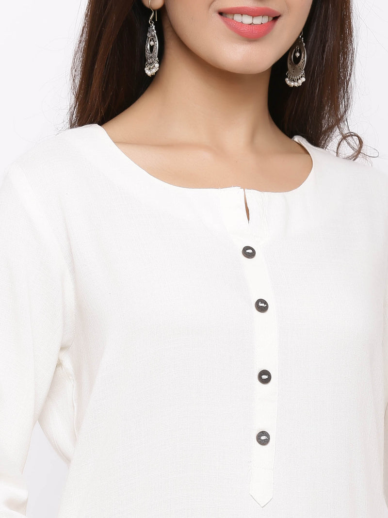 Straight Plain Coloured Kurti with Pockets White