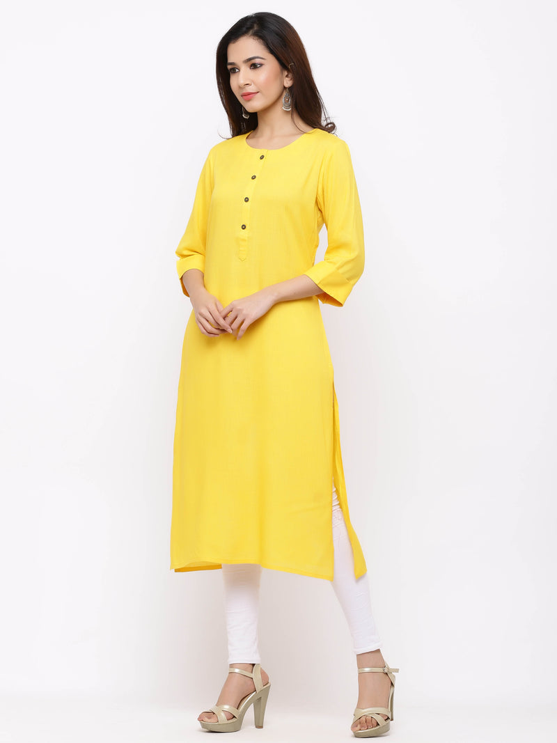 Straight Plain Coloured Kurti with Pockets Yellow