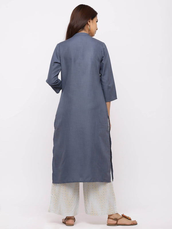 Tranquil Kurti with Plazo – Grey