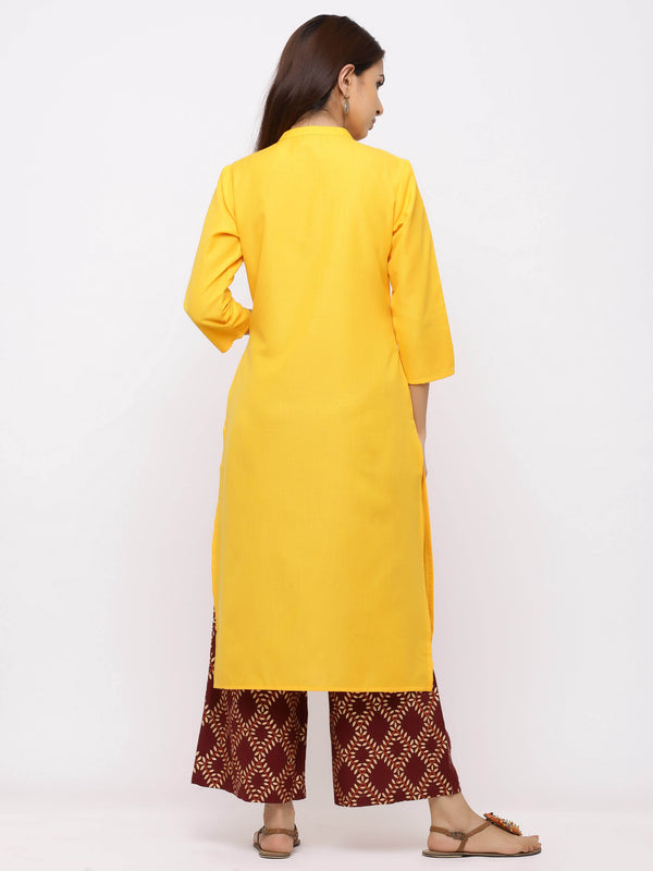 Euphoria Kurti with Plazo – Yellow