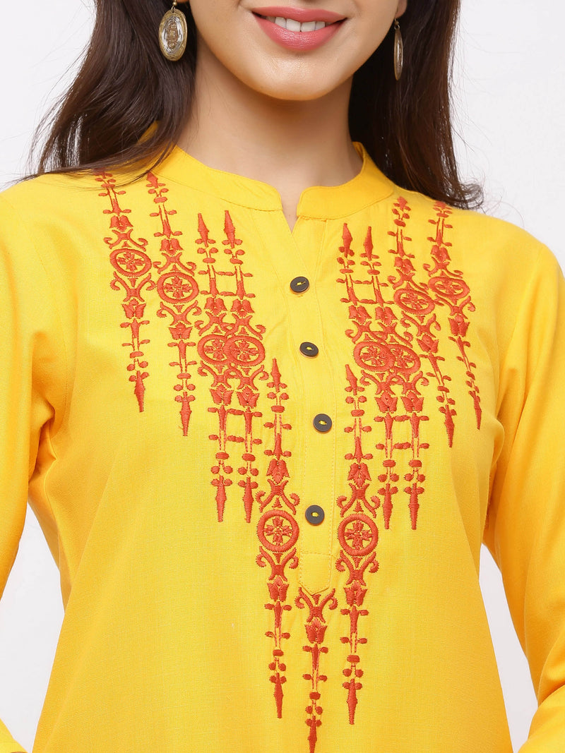 Euphoria Kurti with Plazo Yellow