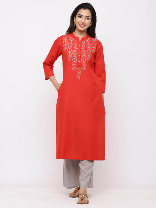 Amiable Kurti with Plazo – Red