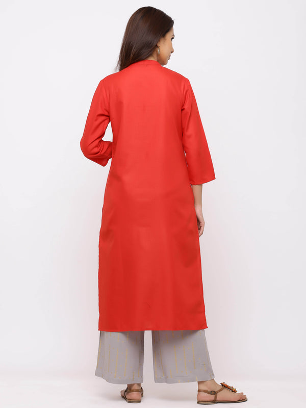 Amiable Kurti with Plazo Red