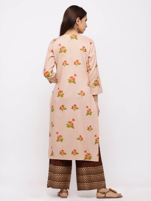 Effervescent Kurti with Plazo – Peach