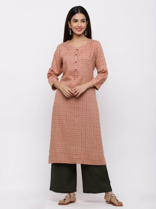 Peach Printed Cotton Kurti with Palazzo