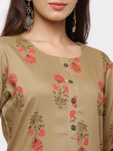 ZOLA Brown Cotton Kurta with Trouser