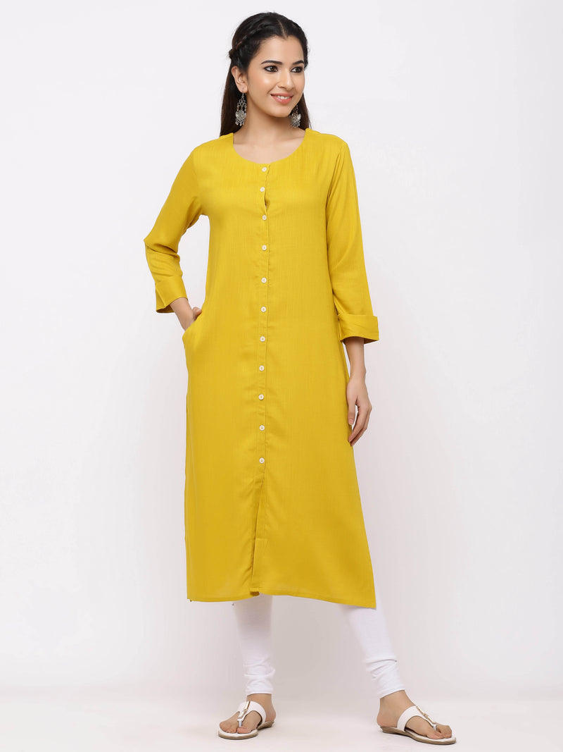 Straight Solid Coloured Button-Down Kurti with Pockets Mustard