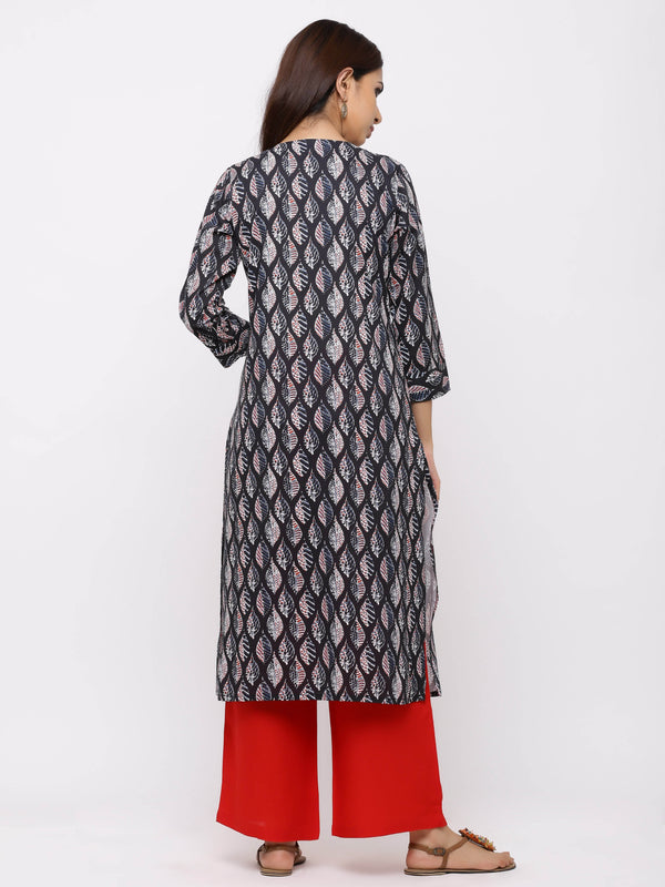 Grey Block Printed Cotton Kurti with Red Palazzo
