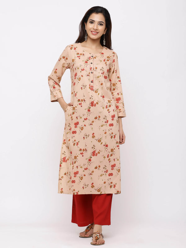 Light-Pink Floral Printed Cotton Kurti with Red Palazzo