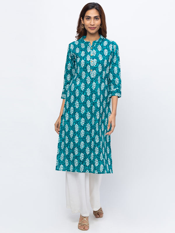 ZOLA Teal Printed Kurta with Chinese Collar for Women