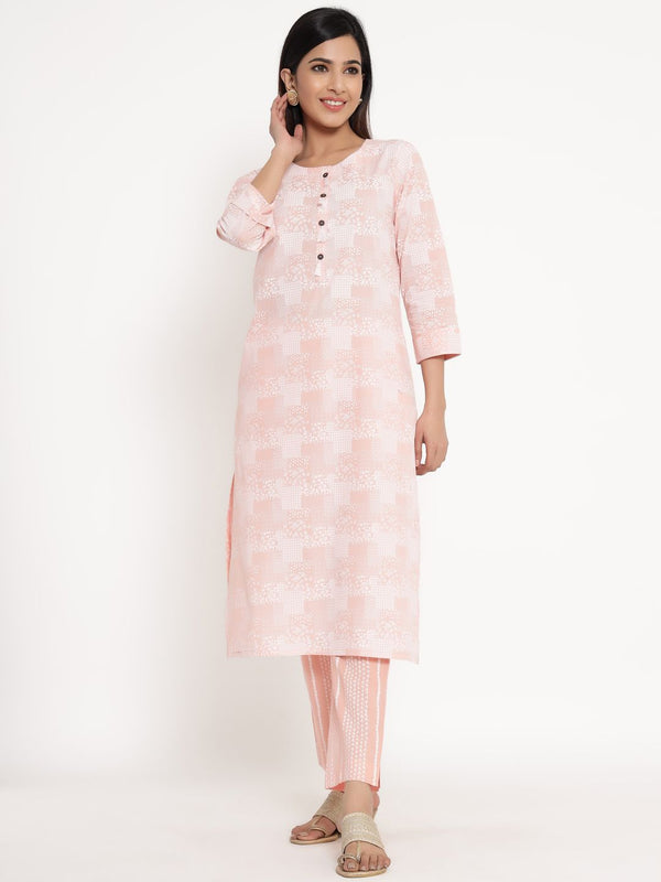 ZOLA Baby Pink Cotton Abstract Print Kurta Set for Women