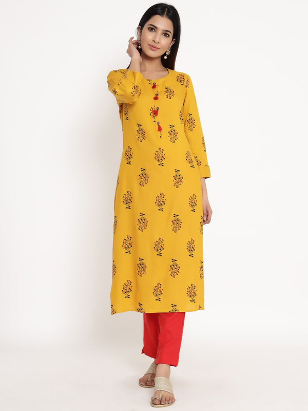 ZOLA Yellow Rayon Round Neck Printed Kurta Set for Women