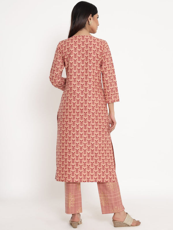 ZOLA Peach Cotton Round Neck Printed Kurta Set for Women