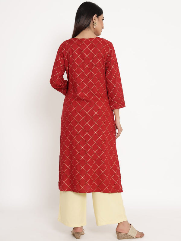 ZOLA Red Rayon Round Neck Checks Kurta Set for Women