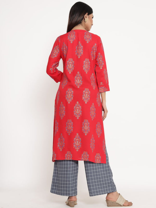 ZOLA Red Cotton Round Neck Printed Kurta Set for Women