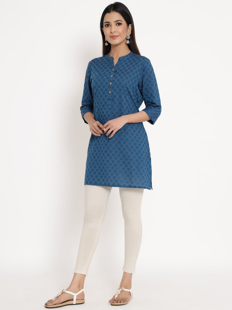 ZOLA Blue Cotton Embroidered Tunic for Women