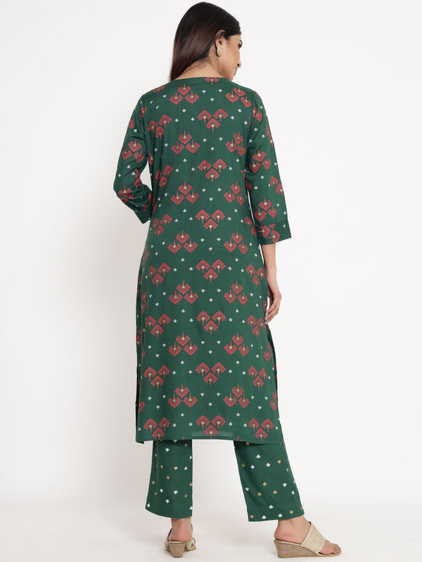 ZOLA Dark Green Rayon Round Neck Printed Kurta Set for Women