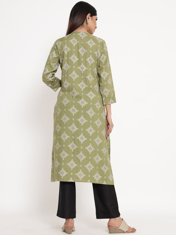 ZOLA Olive Green Rayon Round Neck Printed Kurta Set for Women