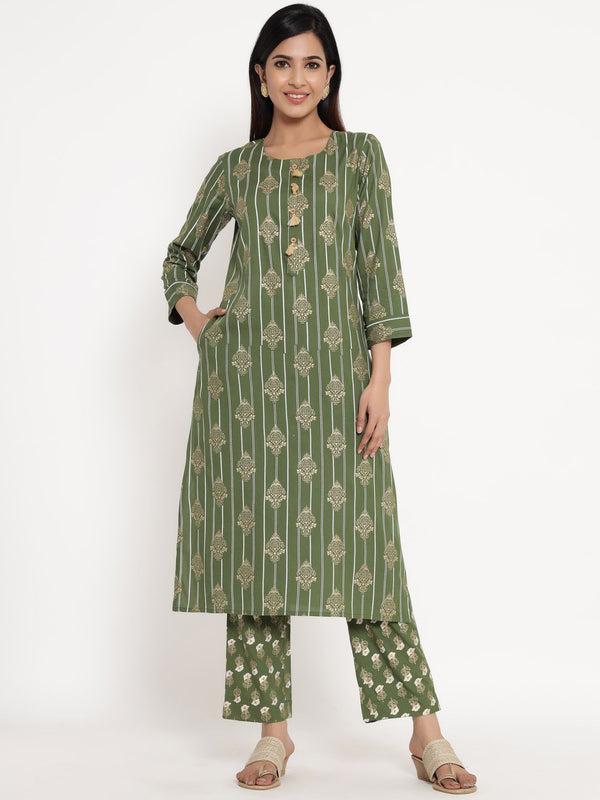 ZOLA Olive Green Rayon Round Neck Striped Kurta Set for Women