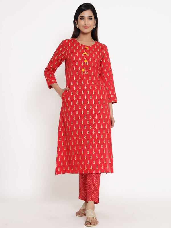 ZOLA Red Rayon Round Neck Printed Kurta Set for Women