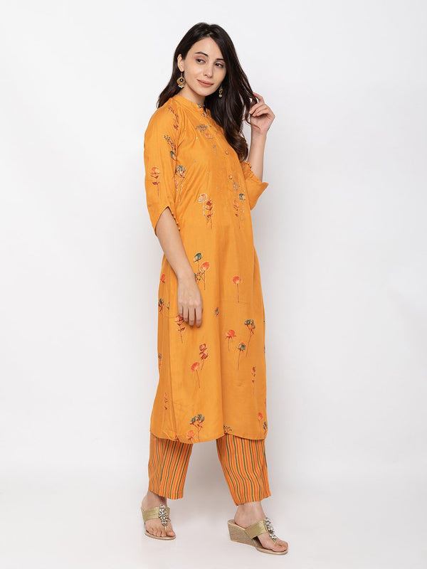 Stylish Orange Rayon Chinese Collar Palazzo