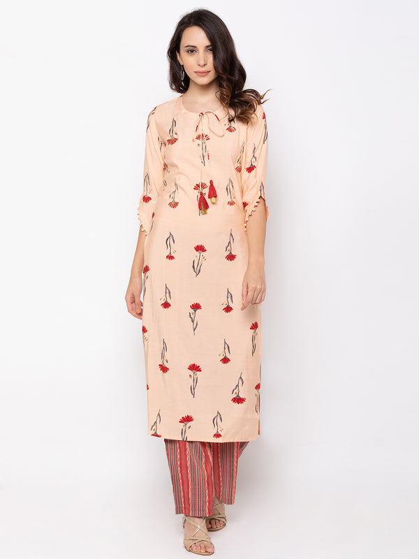 ZOLA Stylish Peach Rayon Chinese Collar Kurta + Palazzo Set
