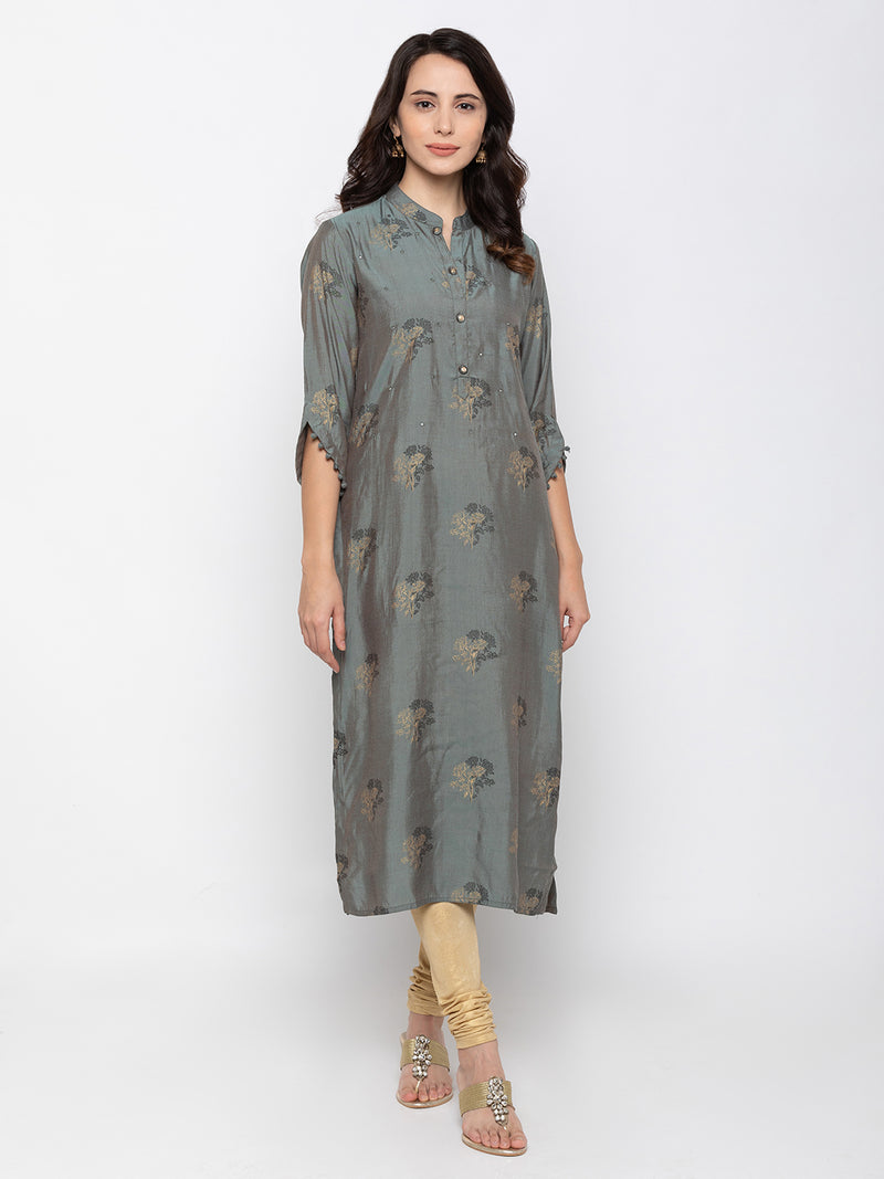 Sleek Grey Modal Silk Chinese Collar Printed Kurti