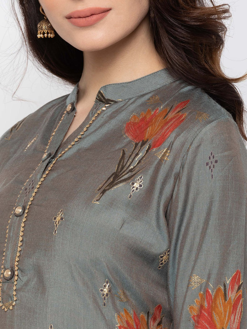 Ultra-modern Grey Modal Silk Chinese Collar Printed Kurti