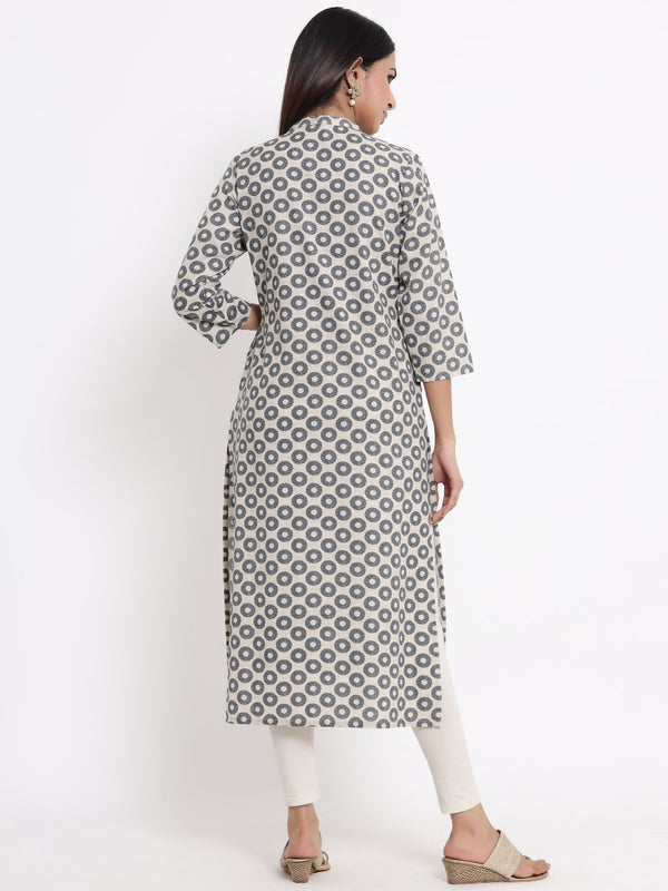 ZOLA Grey Geometric Printed A-Line Kurti for Women