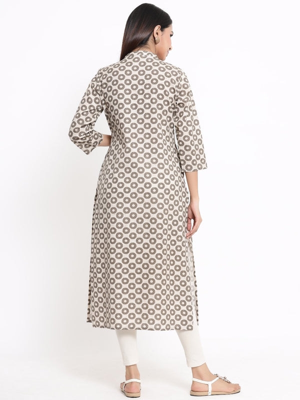 ZOLA Brown Geometric Printed A-Line Kurti for Women
