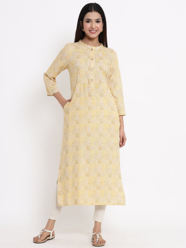 ZOLA Mustard Checkered A-Line Kurti for Women