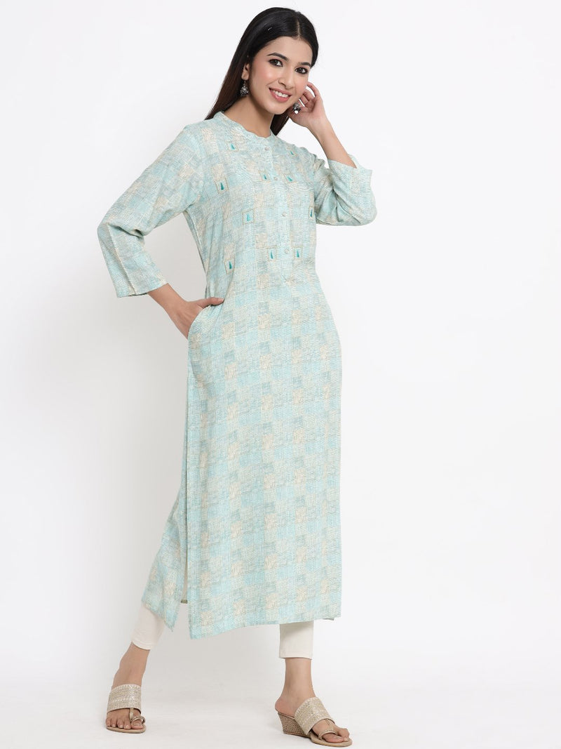 ZOLA Sky Blue Checkered A-Line Kurti for Women