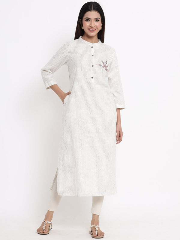 ZOLA Off White Striped A-Line Kurti for Women