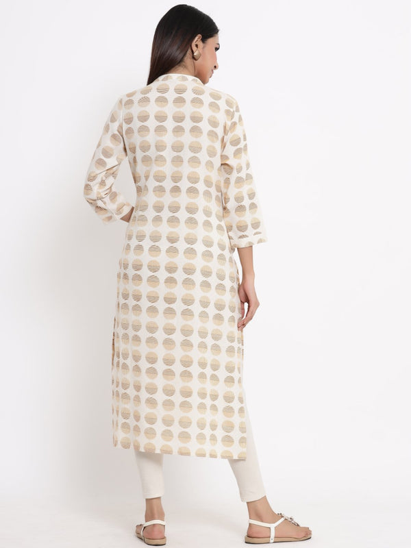 ZOLA Cream Geometric Printed A-Line Kurti for Women