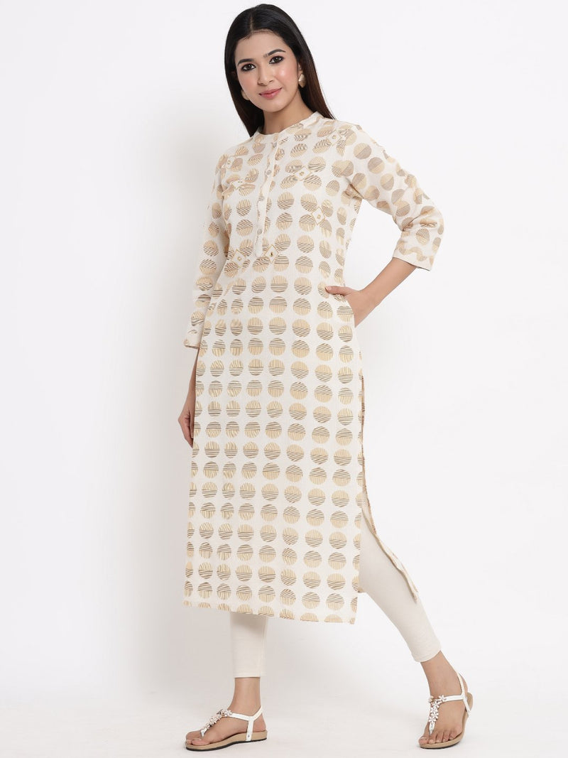 ZOLA Beige Geometric Printed A-Line Kurti for Women