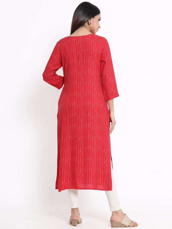 ZOLA Red Embellished A-Line Kurti for Women