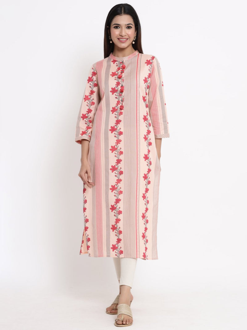 ZOLA Peach Floral Printed A-Line Kurti for Women