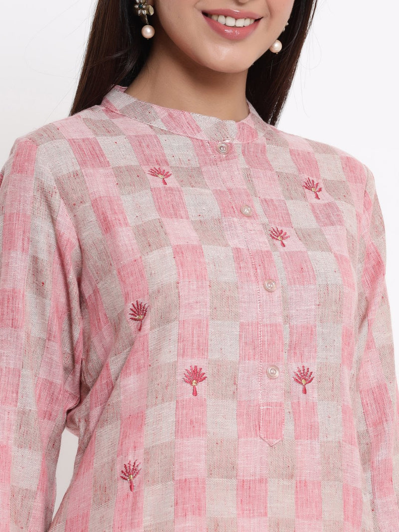 ZOLA Pink Checkered A-Line Kurti for Women